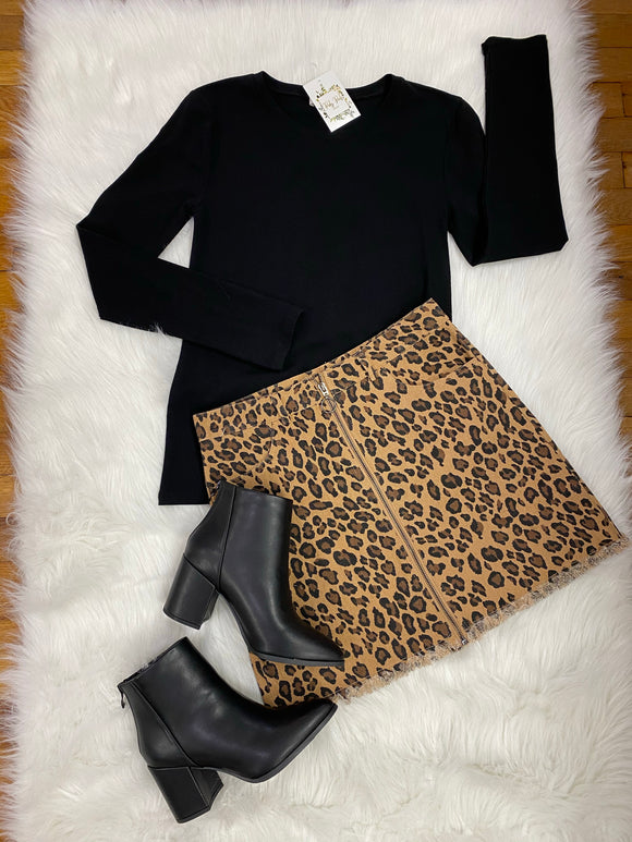 Black Long Sleeve Basic Top
