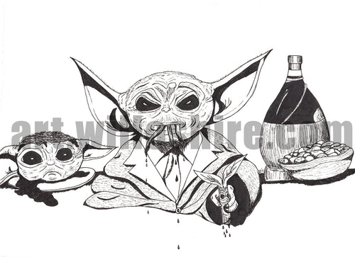 Baby Yoda Hannibal with Bowtruckle Appetizer - 8x10 Artwork