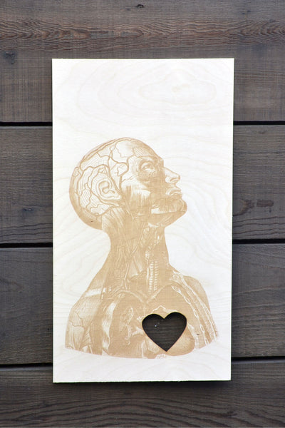 Anatomy Heart Wood Engraving Cutout
