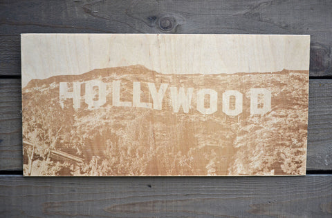 Hollywood sign wood etching art