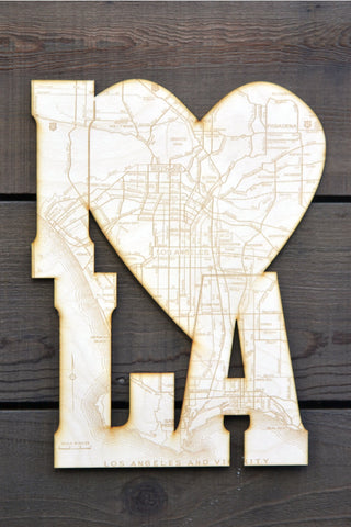 I Heart Los Angeles Wood Engraving Cutout