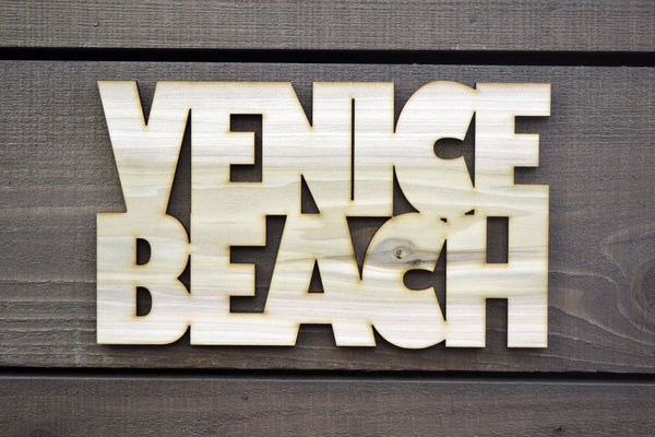 Venice Beach Text Wood Cutout