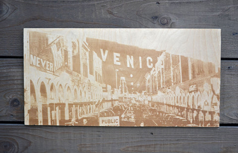 Venice Beach scene wood art
