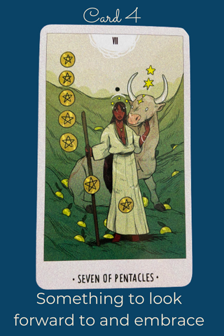 The Seven of Pentacles Card from White Numen A Sacred Animal Tarot