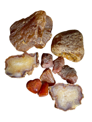 Carnelian natural and tumbled stones