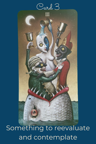 Three of cups card from the Deviant Moon Tarot
