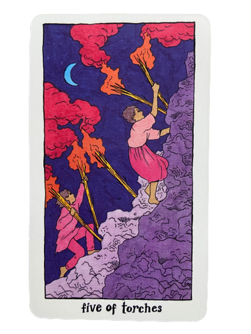 the five of torches/wands card cosmic slumber tarot deck