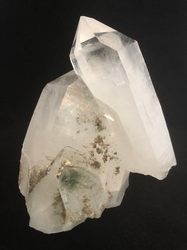 large quartz crystal cluster with chlorite inclusions from front