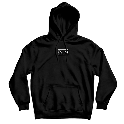 Memeulous Face Embroidered Hoodie - Black