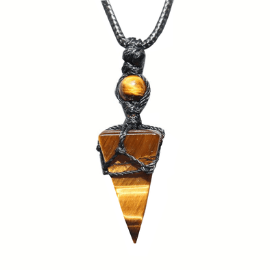 Tiger Eye Pyramid Macrame Necklace
