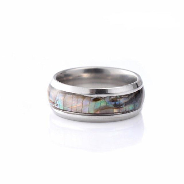 Abalone Shell Stainless Steel Ring Tree of Color 8 Silver Female