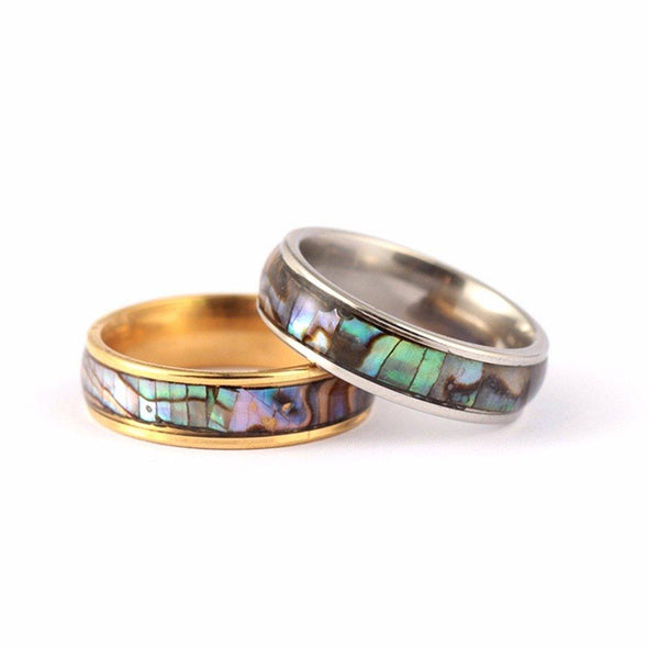 Abalone Shell Stainless Steel Ring Tree of Color