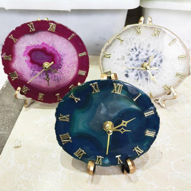 Agate Crystal Clock Tree of Color