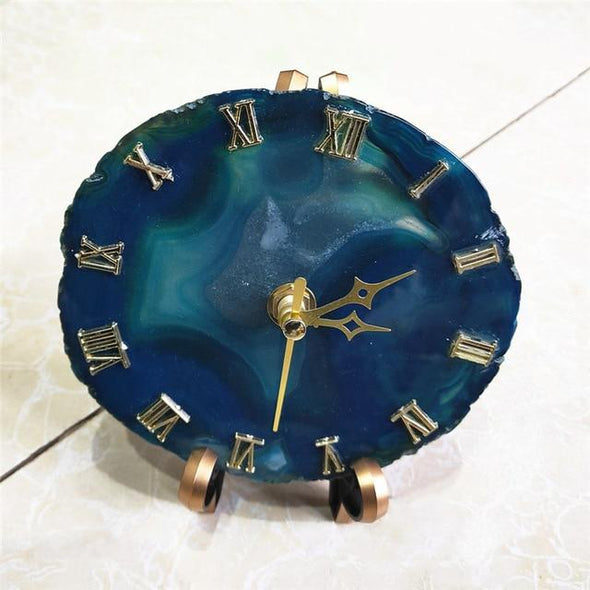 Agate Crystal Clock Tree of Color blue