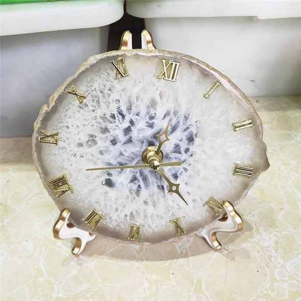 Agate Crystal Clock Tree of Color white