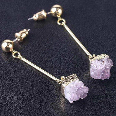 Amethyst Crystal Pushback Earring Tree of Color