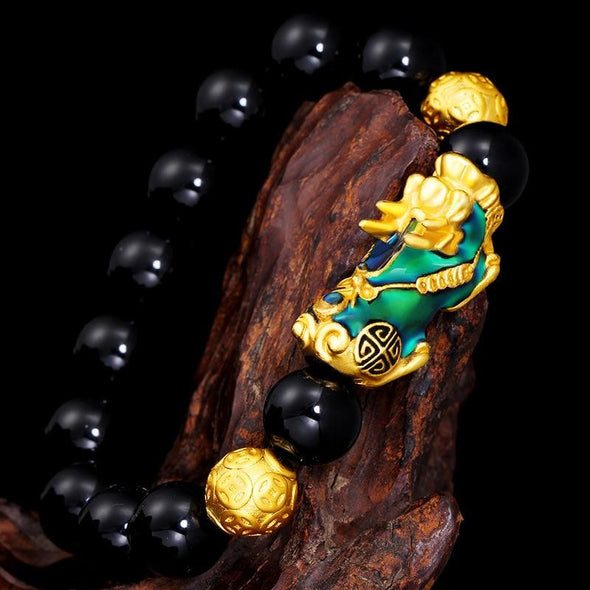 Color Changing Pixiu Jade - Wealth & Protection Bracelet Tree of Color Black & Gold