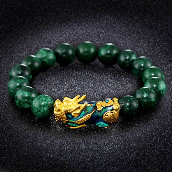 Color Changing Pixiu Jade - Wealth & Protection Bracelet Tree of Color Green