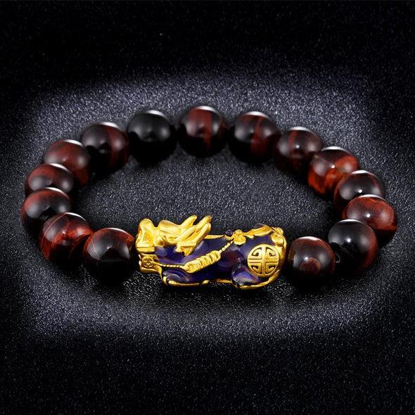Color Changing Pixiu Jade - Wealth & Protection Bracelet Tree of Color Red Tiger Eye