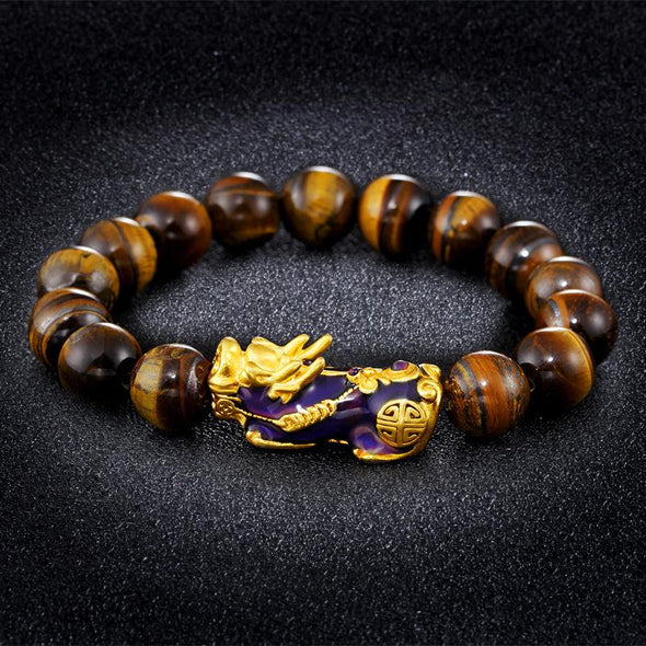 Color Changing Pixiu Jade - Wealth & Protection Bracelet Tree of Color Yellow Tiger Eye
