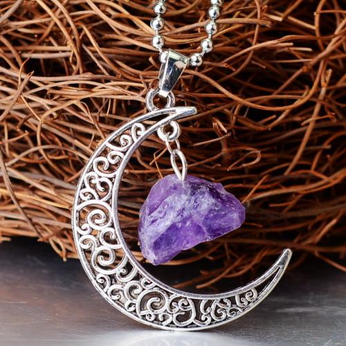 Crescent Moon Crystal Pendant Wild & Color Amethyst