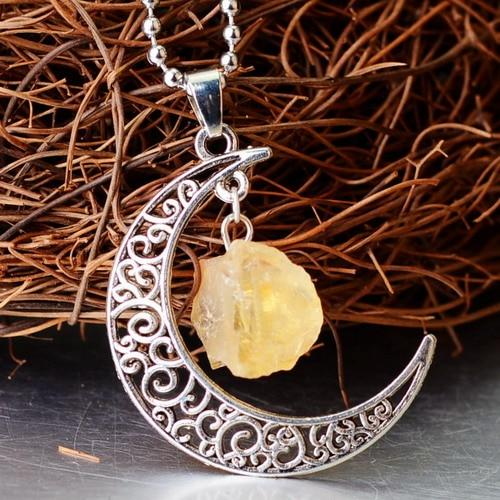 Crescent Moon Crystal Pendant Wild & Color Citrine