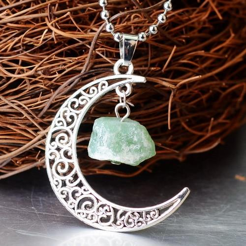 Crescent Moon Crystal Pendant Wild & Color Green Crystal
