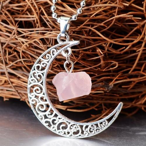 Crescent Moon Crystal Pendant Wild & Color Rose Quartz