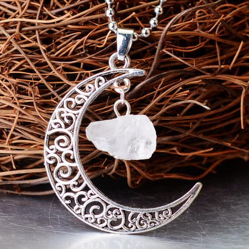 Crescent Moon Crystal Pendant Wild & Color White Crystal