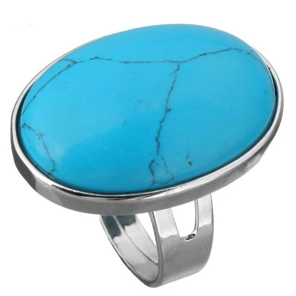 Crystal Oval Geometric Ring Tree of Color blue turquoise