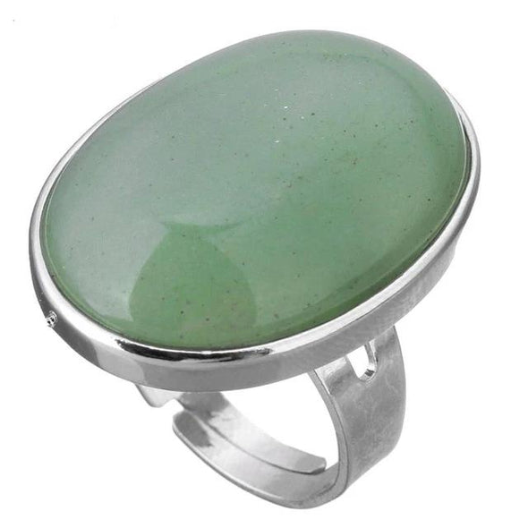 Crystal Oval Geometric Ring Tree of Color green aventurine