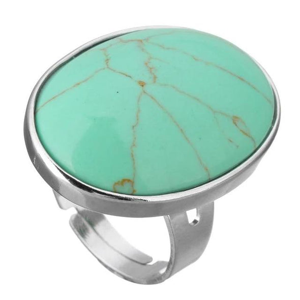 Crystal Oval Geometric Ring Tree of Color green turquoise