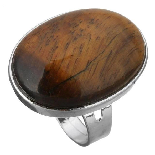 Crystal Oval Geometric Ring Tree of Color tiger eye