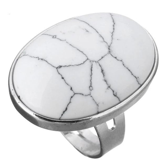 Crystal Oval Geometric Ring Tree of Color white turquoise