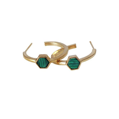 Hexagonal C-Shaped Malachite Crystal Earrings