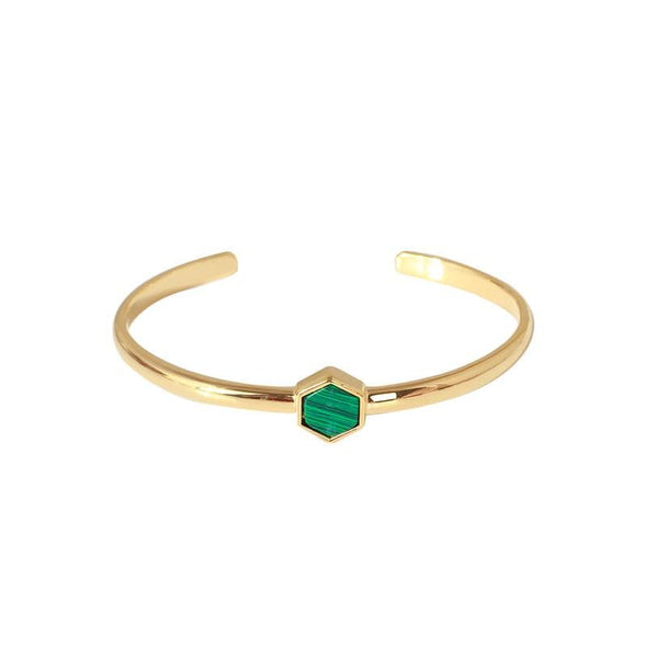 Hexagonal Open Buckle Malachite Crystal Bracelet