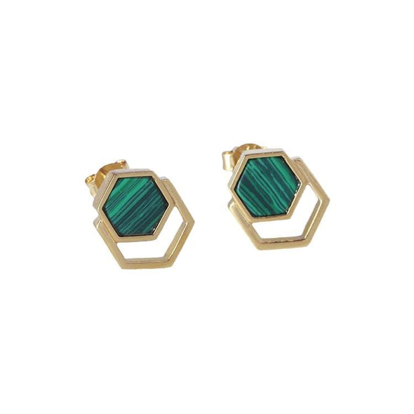 Hexagonal Inlaid Malachite Crystal Earrings