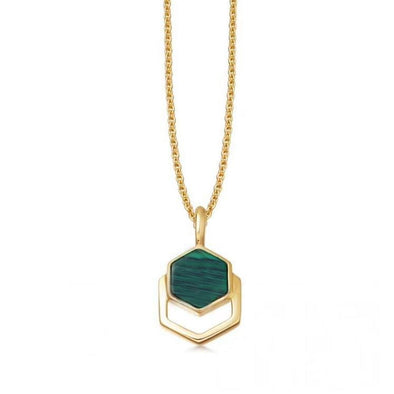 Hexagonal Inlaid Malachite Crystal Necklace