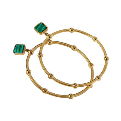 Malachite Crystal Hoop Earrings