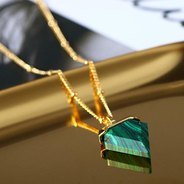 Malachite Triangle Crystal Necklace