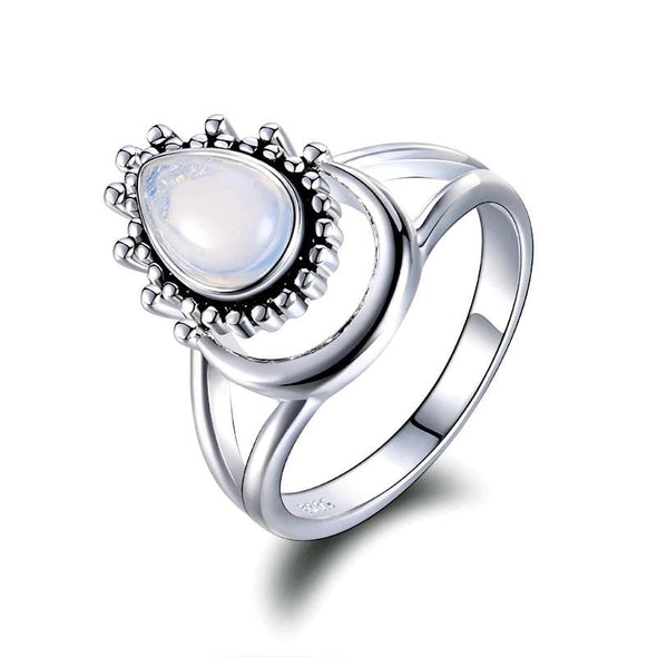 Moonstone Water Drop 925-Silver Ring