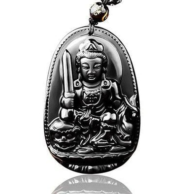 Obsidian Carved Buddha Necklace