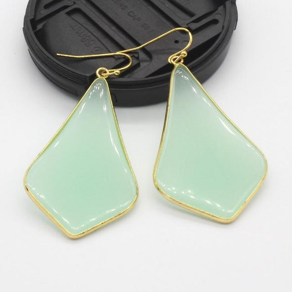 Rhombus Crystal Earrings Tree of Color Green Aventurine