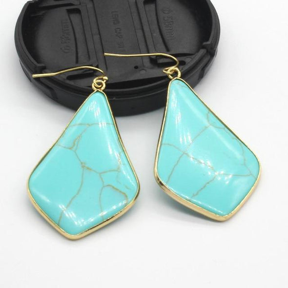 Rhombus Crystal Earrings Tree of Color Green Howlite