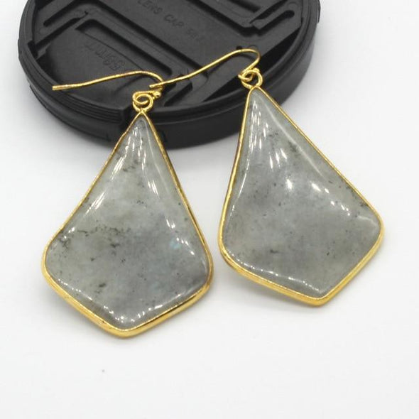 Rhombus Crystal Earrings Tree of Color Labradorite