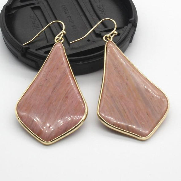 Rhombus Crystal Earrings Tree of Color Rhodonite
