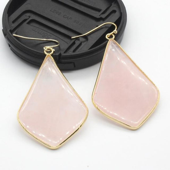 Rhombus Crystal Earrings Tree of Color Rose Pink Quartz