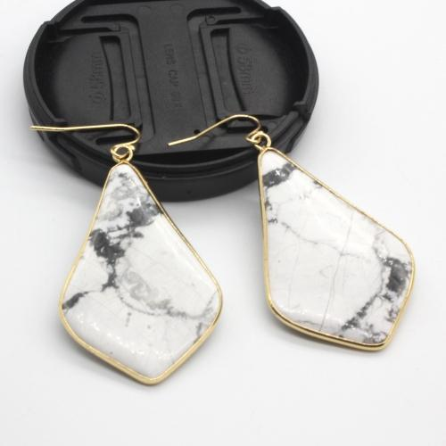 Rhombus Crystal Earrings Tree of Color White Howlite