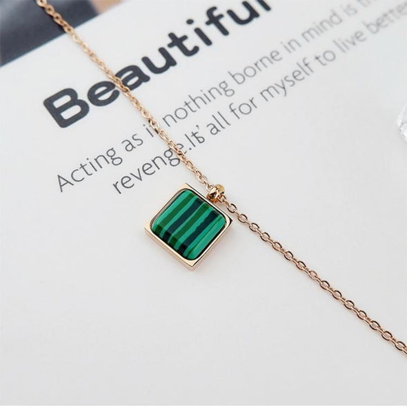 Rose Gold Malachite Crystal Necklace