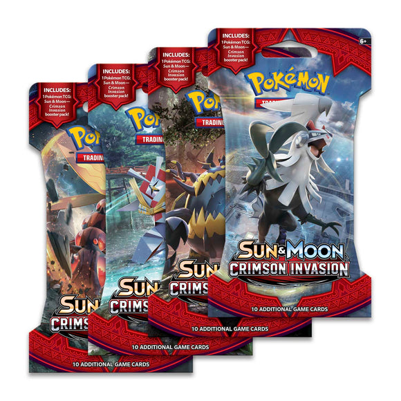 Pokémon TCG: Sun & Moon—Crimson Invasion Sleeved Booster Pack (10 Cards) (4 Packs)